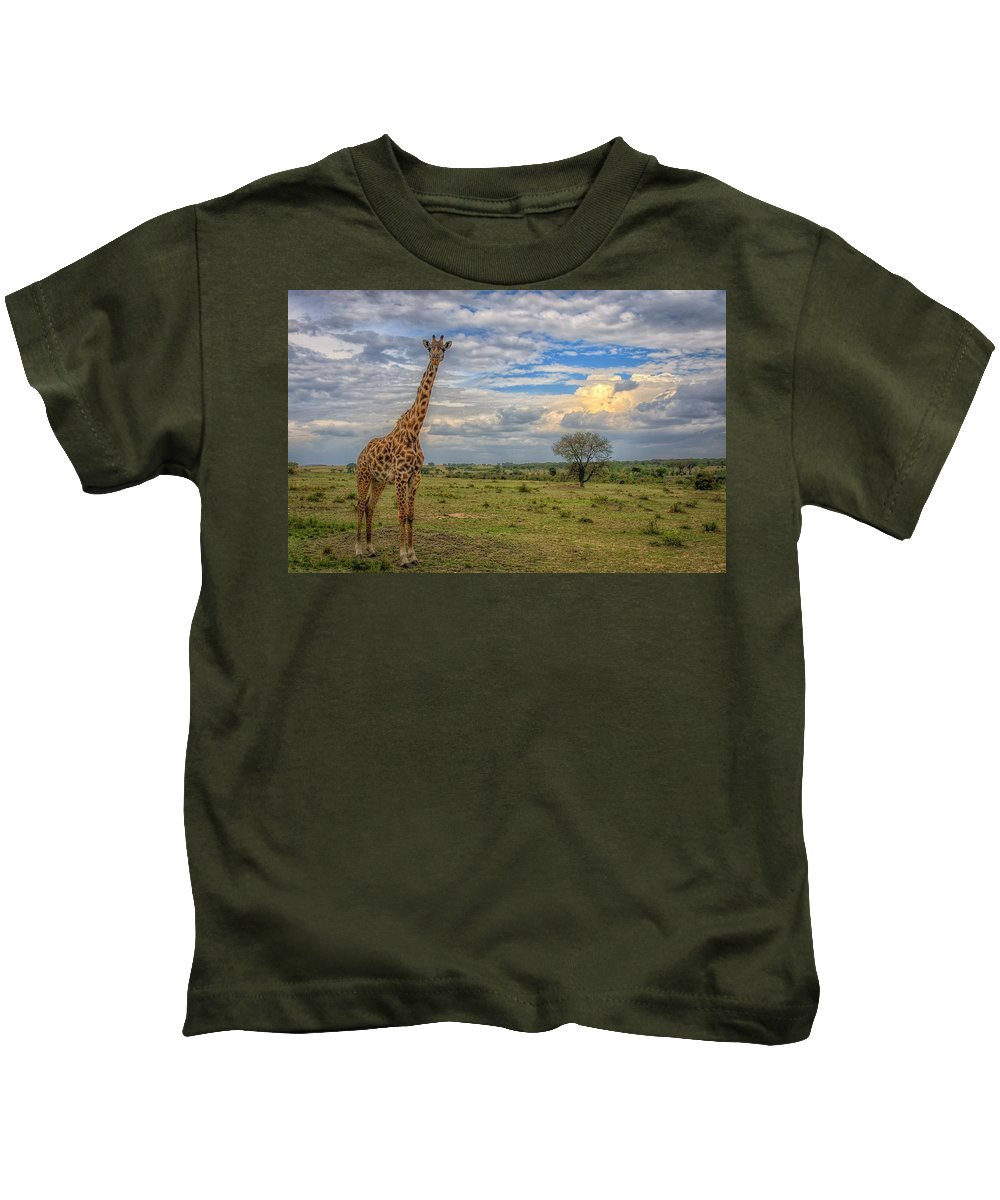 Giraffe Kids T-Shirt featuring the digital art Giraffe by Dorothy Binder