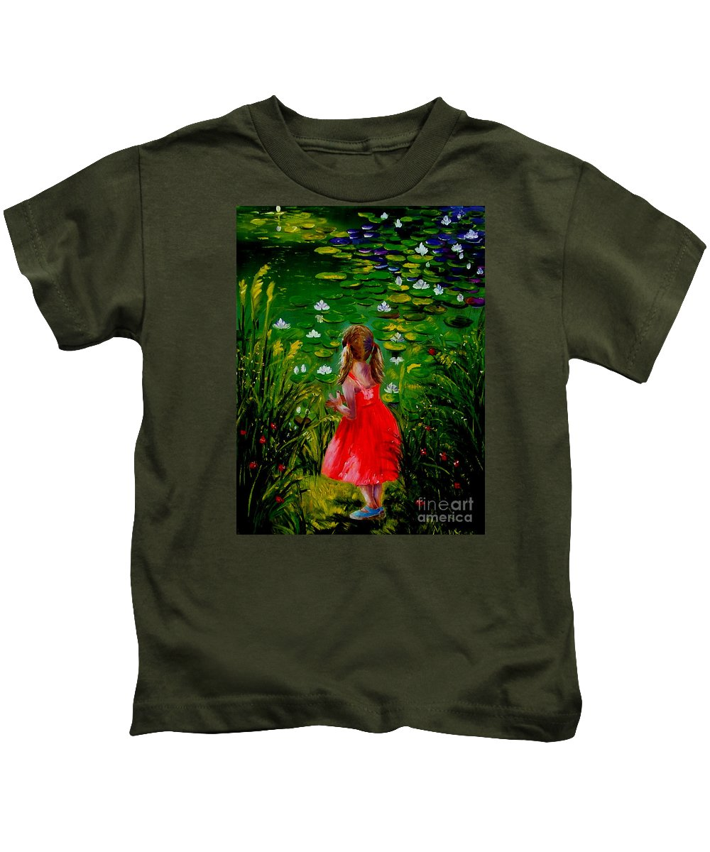 Pond Kids T-Shirt featuring the painting Girl By Lily Pond by Inna Montano