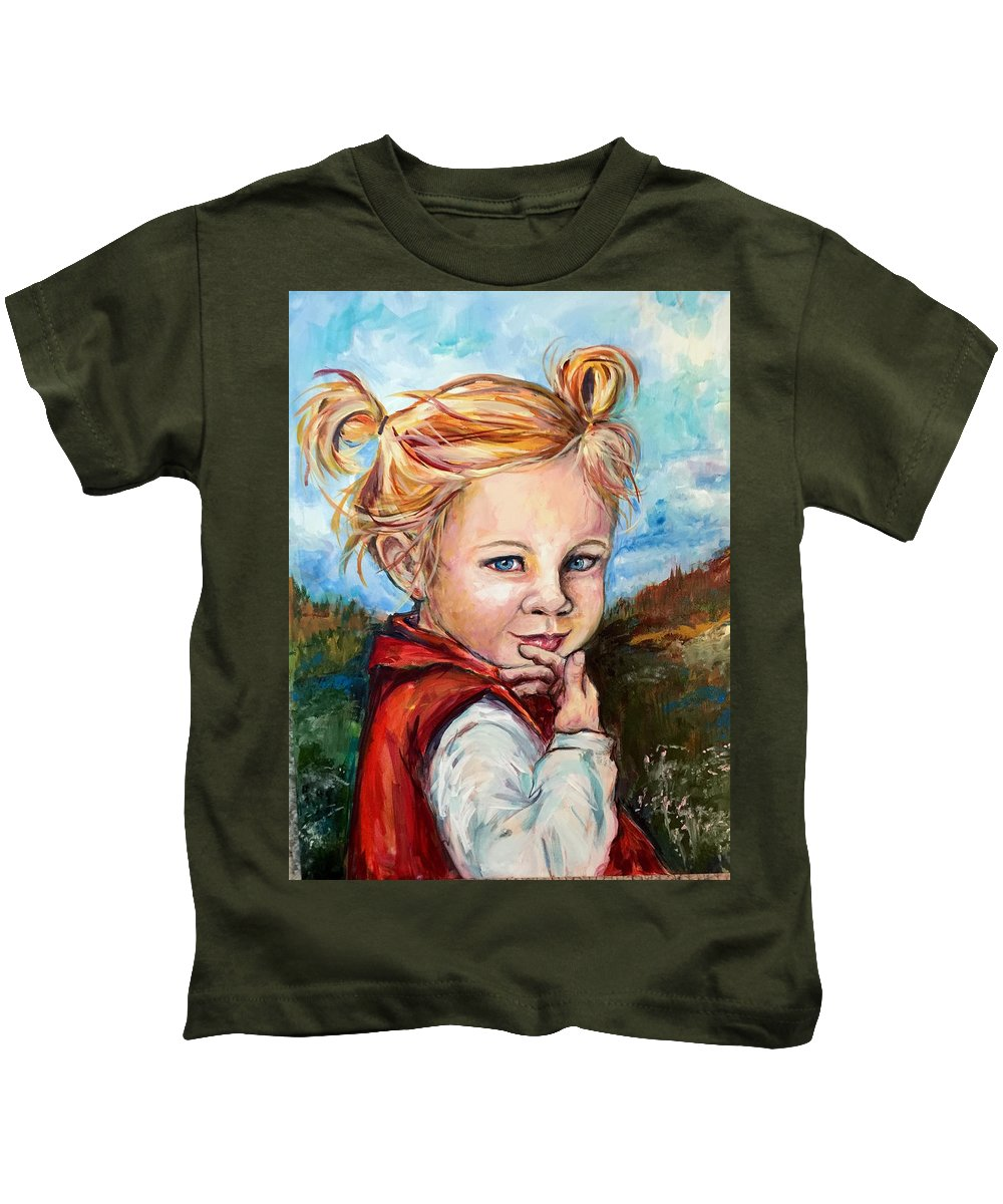 Red Jumper Kids T-Shirt featuring the painting Girl In Red Jumper by Dottie Mabry