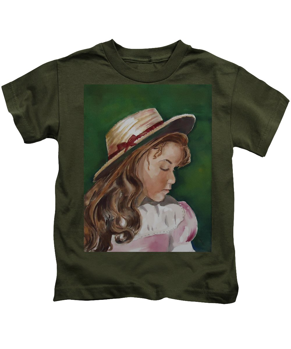 Girl Kids T-Shirt featuring the painting Girl In Ribboned Straw Hat by Charme Curtin