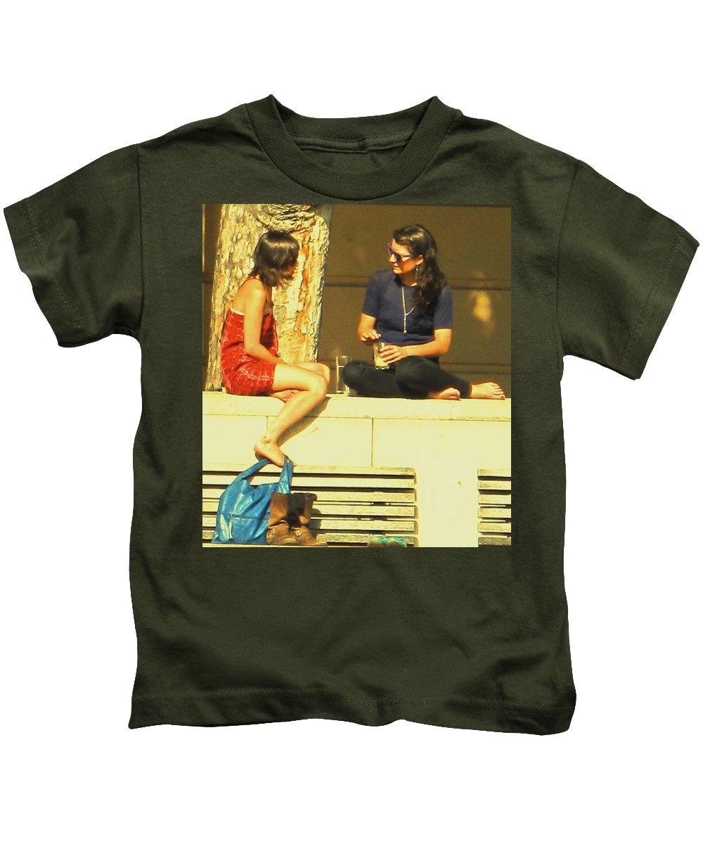 Girl Kids T-Shirt featuring the photograph Girl Talk by Ian MacDonald
