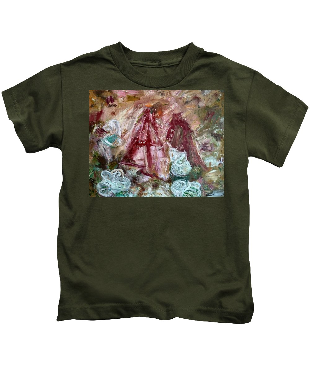 Expressionism Kids T-Shirt featuring the painting Giving by Apostolos Papakonstantis