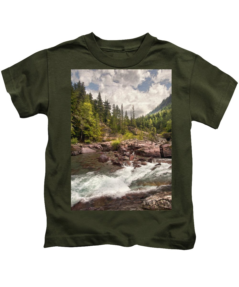 Landscape Kids T-Shirt featuring the digital art Glacier Waterfall by Sharon Foster
