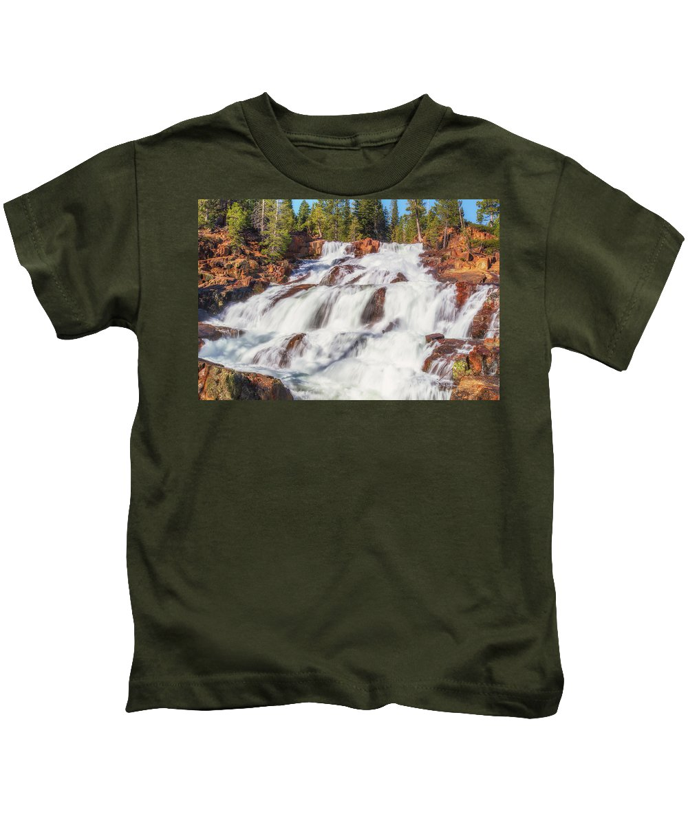 Landscape Kids T-Shirt featuring the photograph Glen Alpine Falls In Early Morning Light by Marc Crumpler