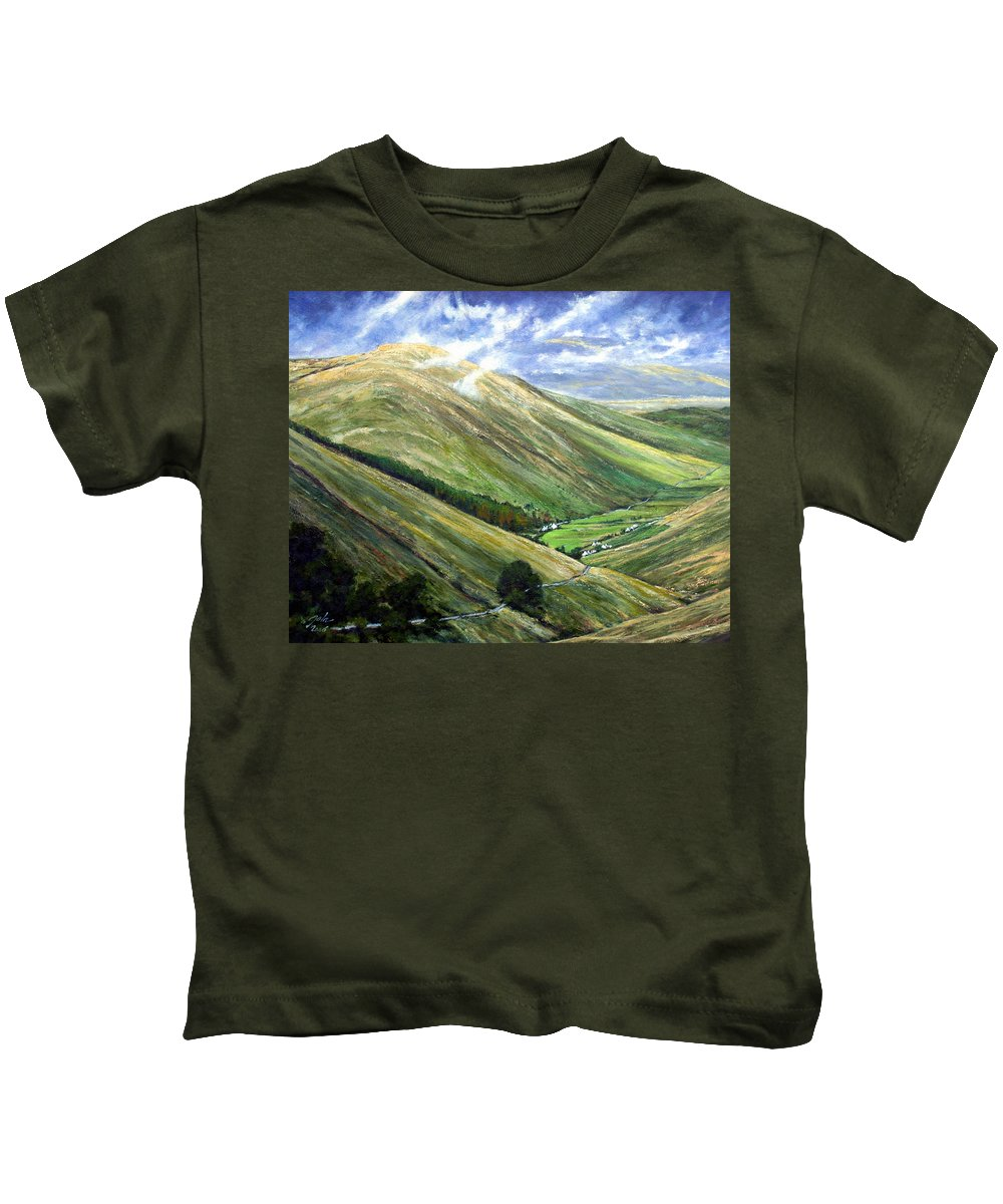 Landscapes Kids T-Shirt featuring the painting Glen Gesh Ireland by Jim Gola