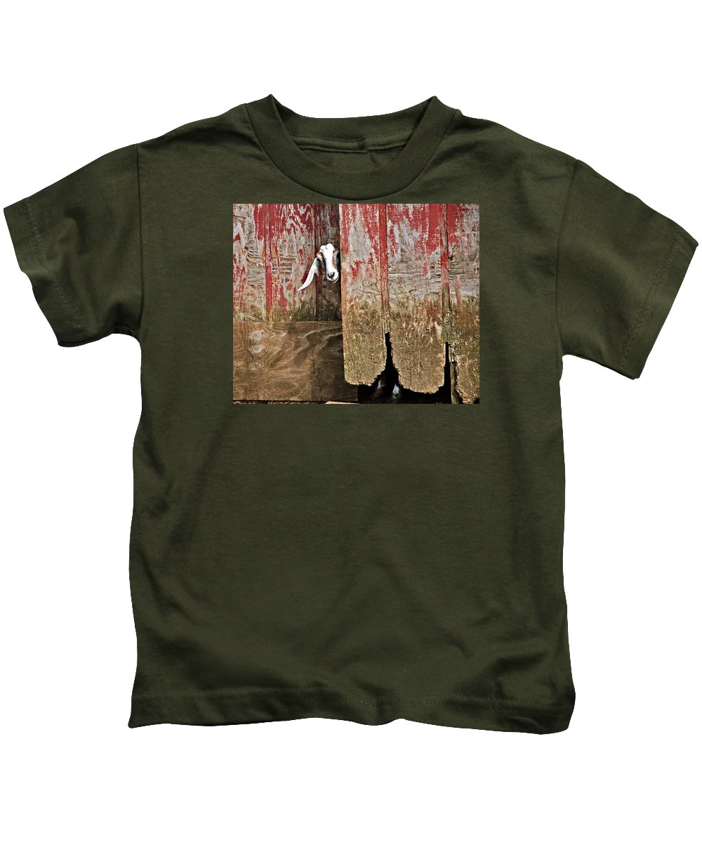 Old Kids T-Shirt featuring the photograph Goat And Old Barn Door by Susan Leggett