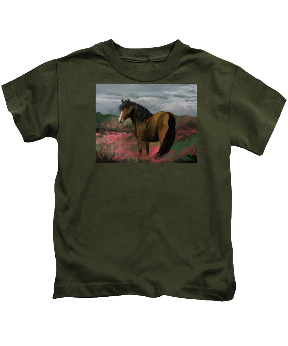 Golden Beauty In Fields Of Pink Flowers.. Kids T-Shirt featuring the painting Golden Beauty by Melissa Young