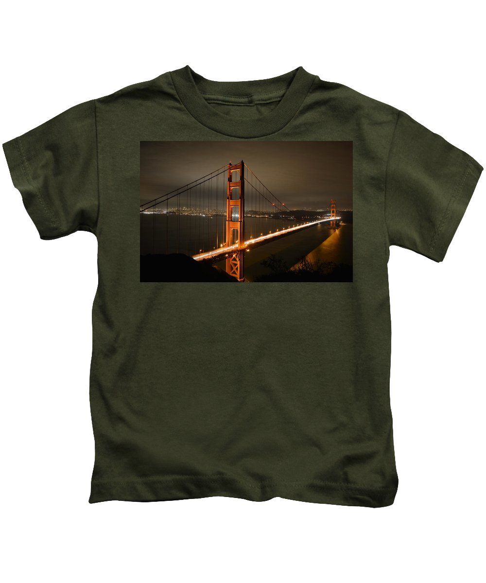 Golden Kids T-Shirt featuring the photograph Golden Gate At Night by Cathy Lovell
