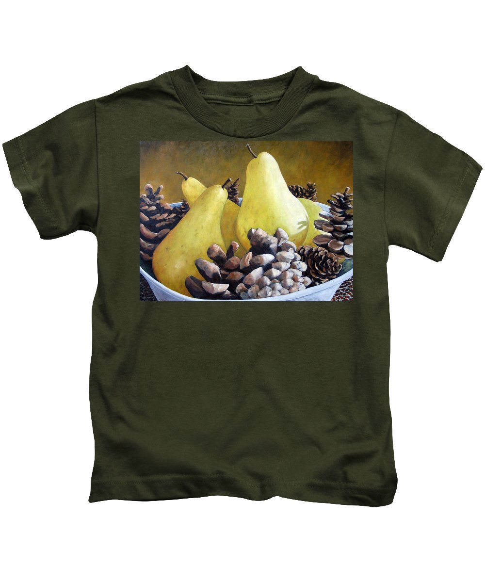 Canadian Kids T-Shirt featuring the painting Golden Pears And Pine Cones by Richard T Pranke