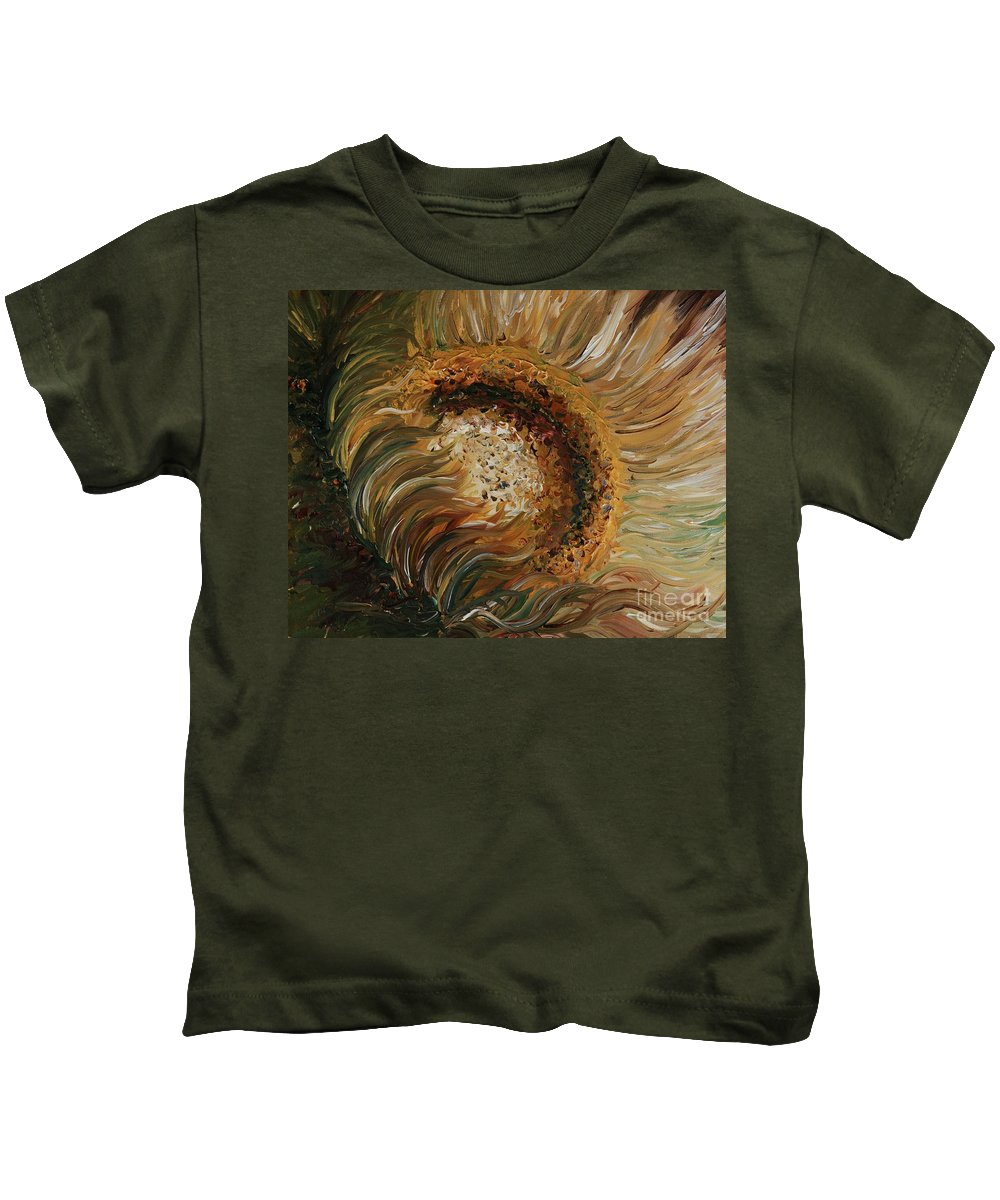 Sunflower Kids T-Shirt featuring the painting Golden Sunflower by Nadine Rippelmeyer