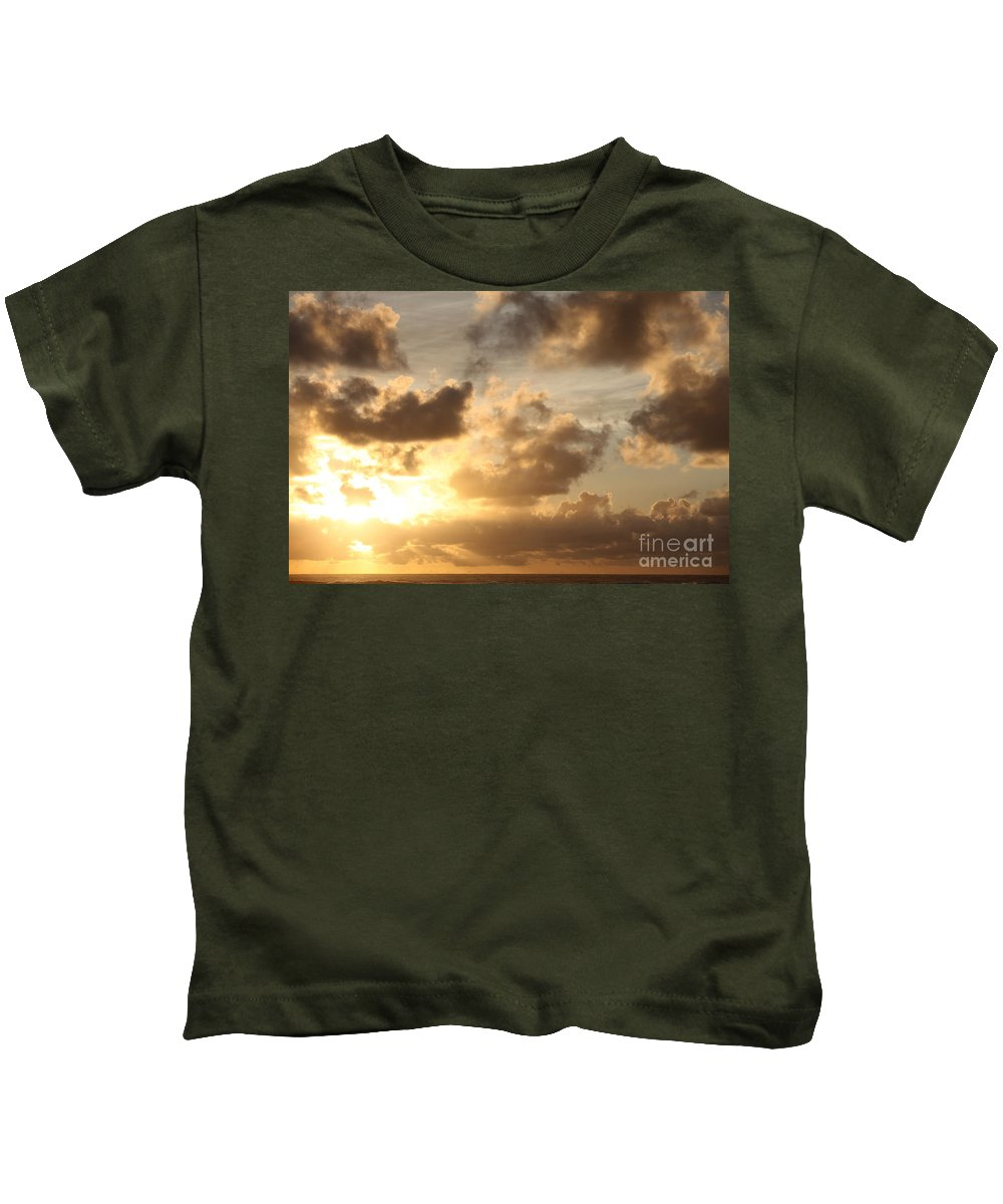 Sunrise Kids T-Shirt featuring the photograph Golden Sunrise On Kauai by Nadine Rippelmeyer