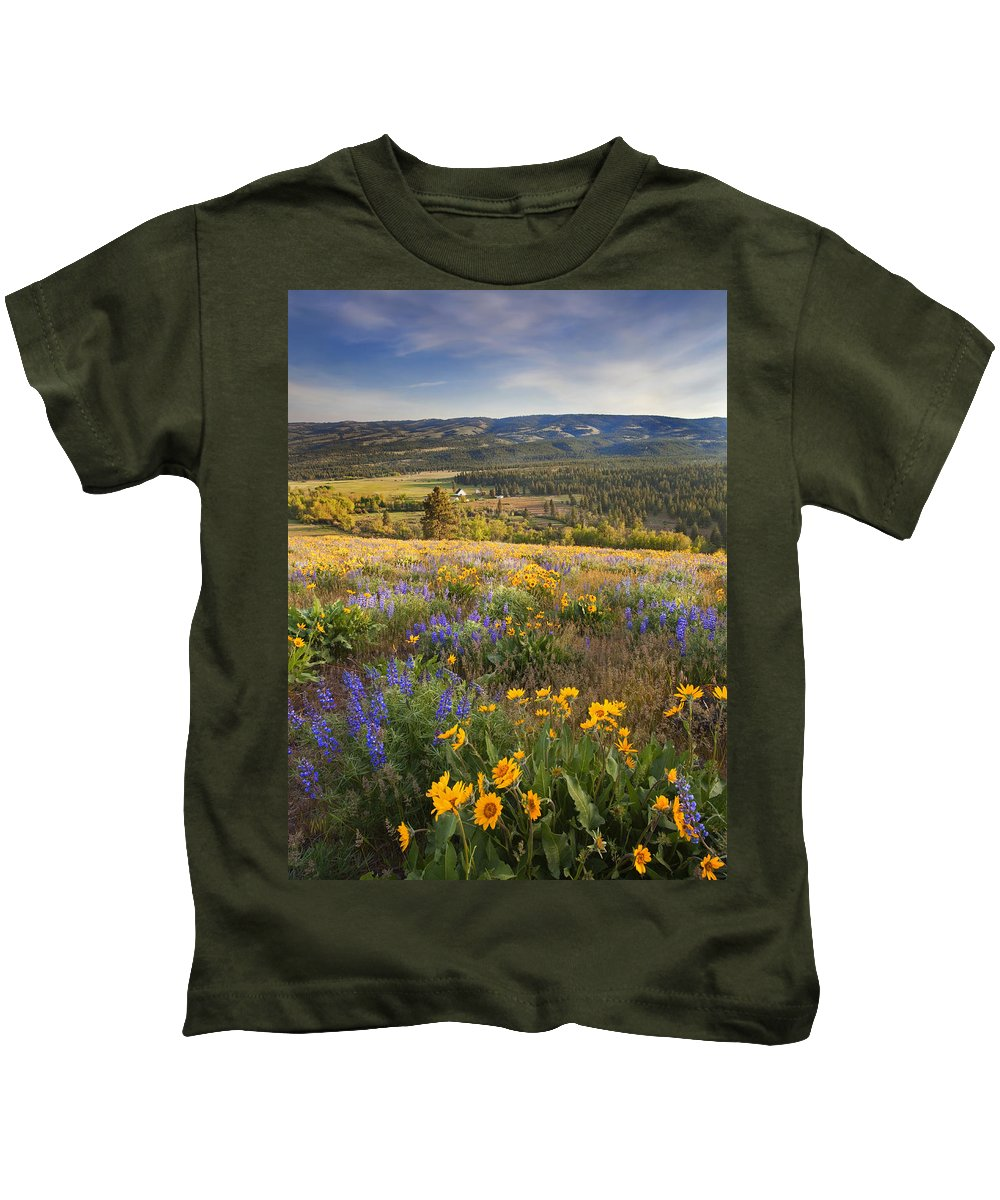Wildflowers Kids T-Shirt featuring the photograph Golden Valley by Mike Dawson