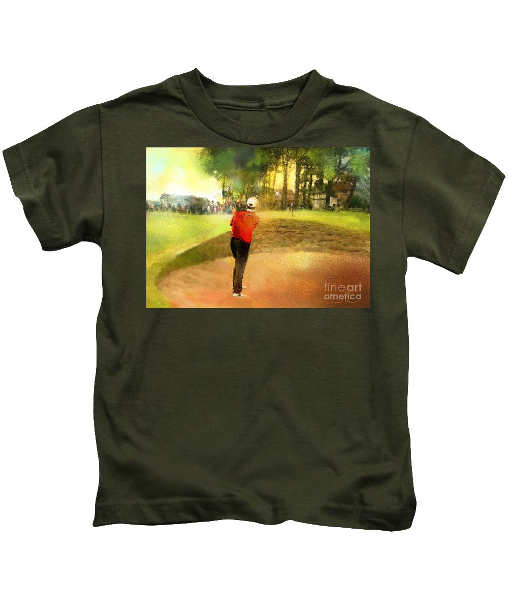 Golf Kids T-Shirt featuring the painting Golf In Scotland Saint Andrews 01 by Miki De Goodaboom