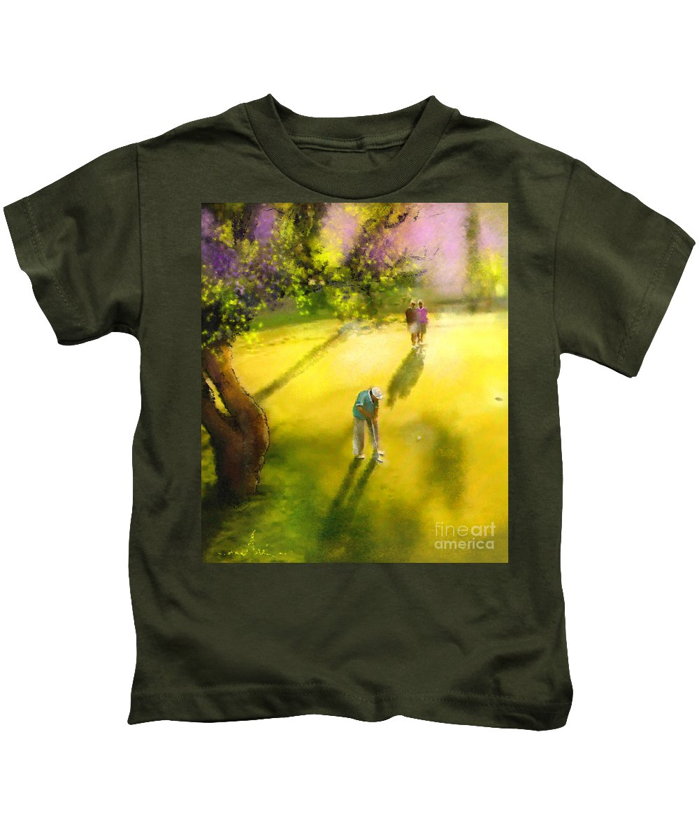Golf Kids T-Shirt featuring the painting Golf In Spain Castello Masters 01 by Miki De Goodaboom