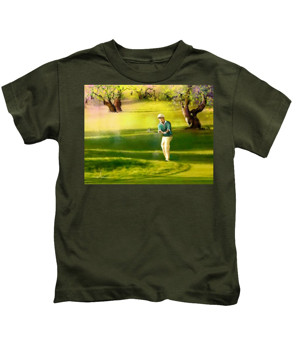 Sports Kids T-Shirt featuring the painting Golf In Spain Castello Masters 02 by Miki De Goodaboom