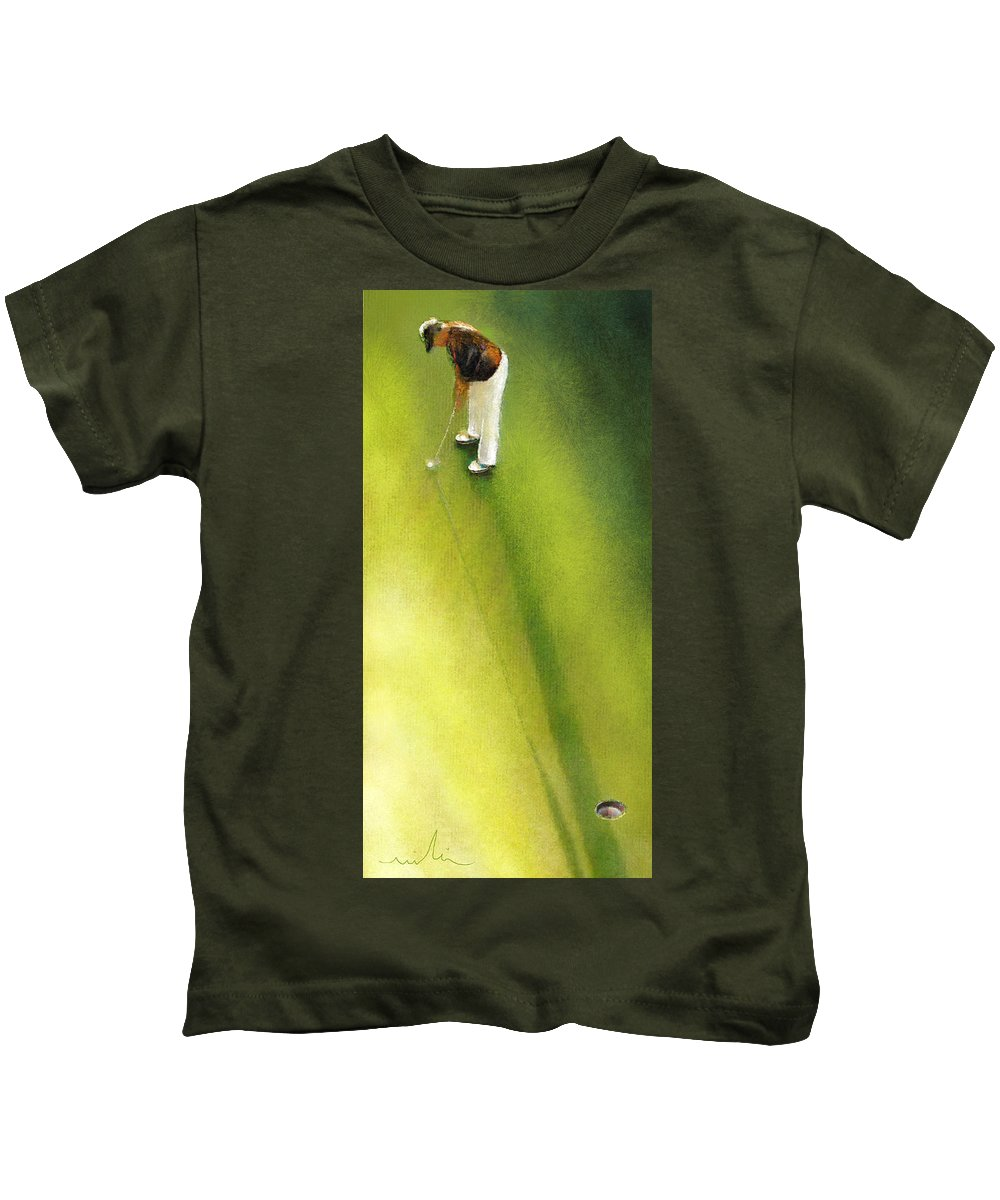 Golf Kids T-Shirt featuring the painting Golf In Spain Castello Masters 03 by Miki De Goodaboom