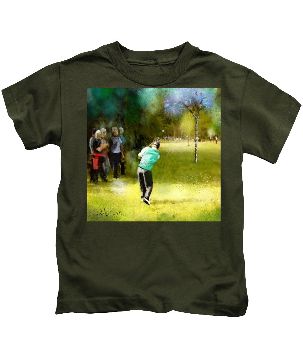 Golf Kids T-Shirt featuring the painting Golf Vivendi Trophy In France 02 by Miki De Goodaboom