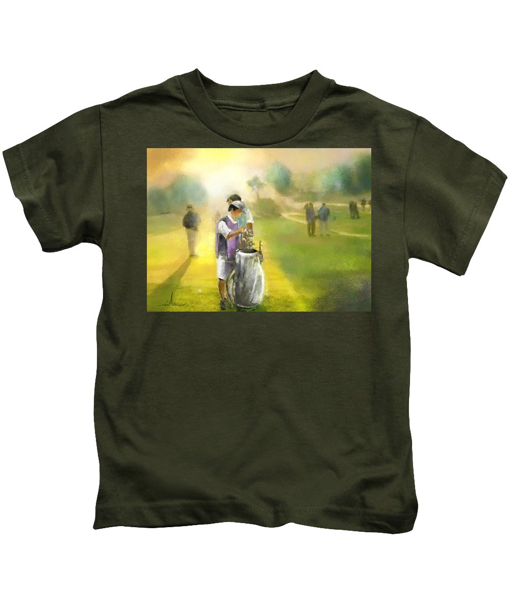Golf Kids T-Shirt featuring the painting Golf Vivendi Trophy In France 03 by Miki De Goodaboom