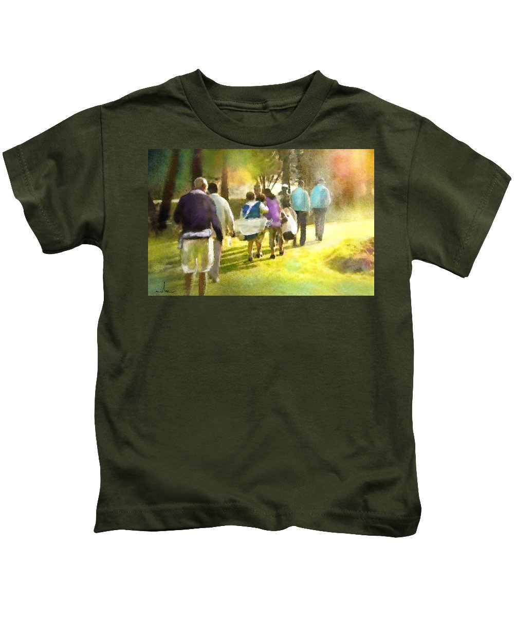 Golf Kids T-Shirt featuring the painting Golf Vivendi Trophy In France 04 by Miki De Goodaboom
