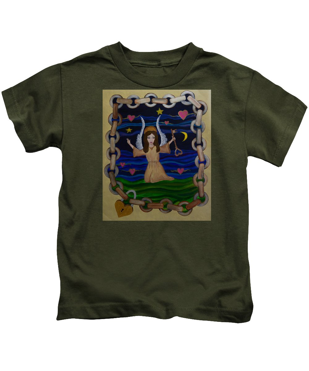 Wendy Kids T-Shirt featuring the painting Good Vibrations by Wendy Wunstell