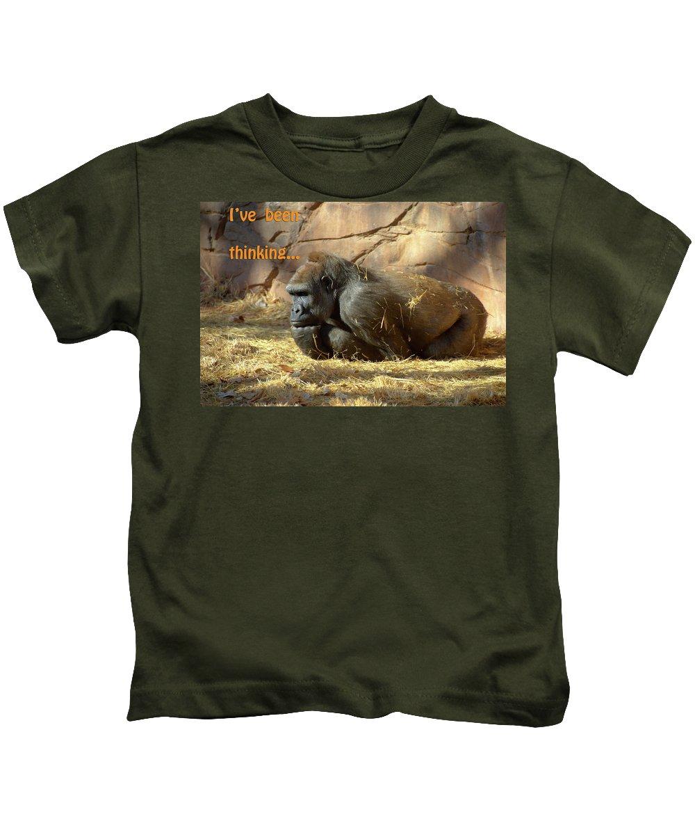 Gorilla Kids T-Shirt featuring the photograph Gorilla Musings by Betty LaRue