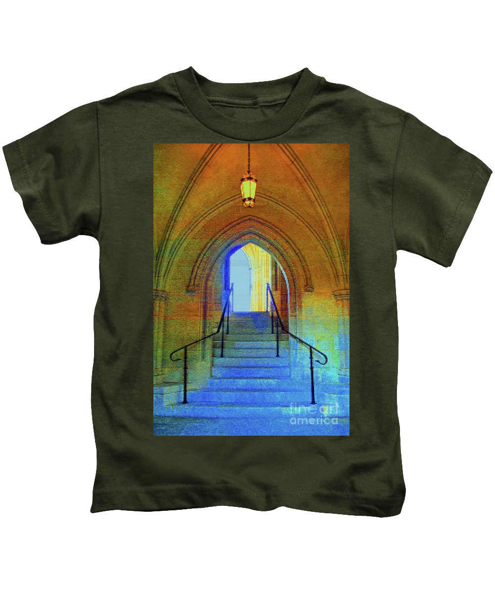 Washington Kids T-Shirt featuring the photograph Gothic Steps by Jost Houk