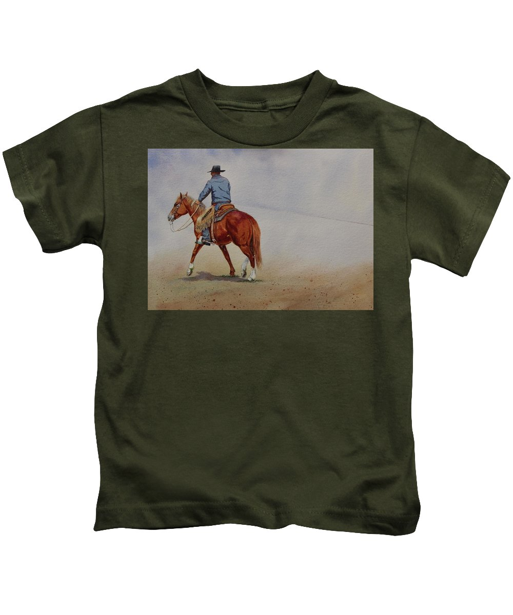 Horse Kids T-Shirt featuring the painting Grabbin' Ground by Valerie Coe