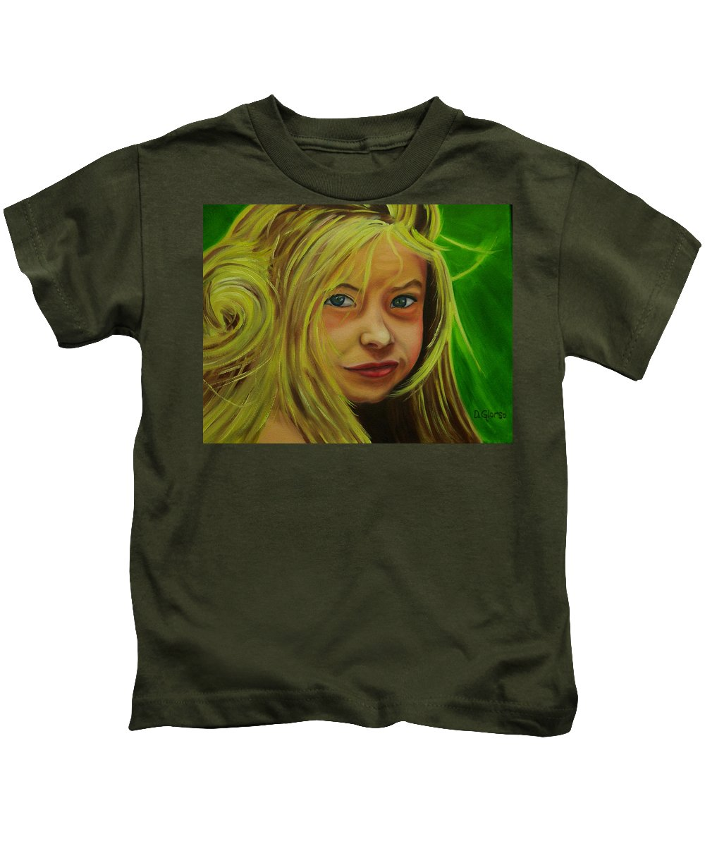 Glorso Art Kids T-Shirt featuring the painting Gracy by Dean Glorso