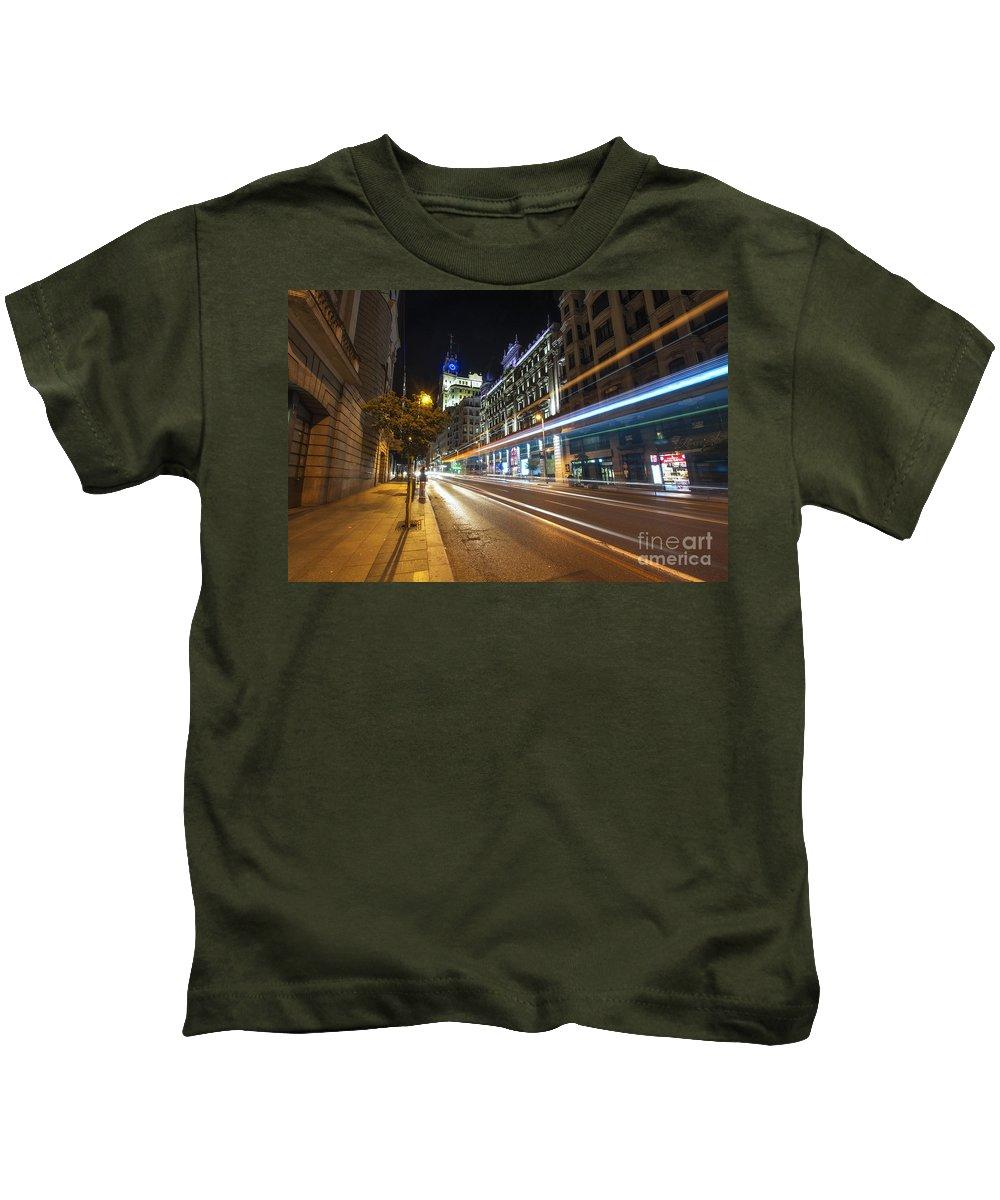 Yhun Suarez Kids T-Shirt featuring the photograph Gran Via Light Trails 1.0 by Yhun Suarez