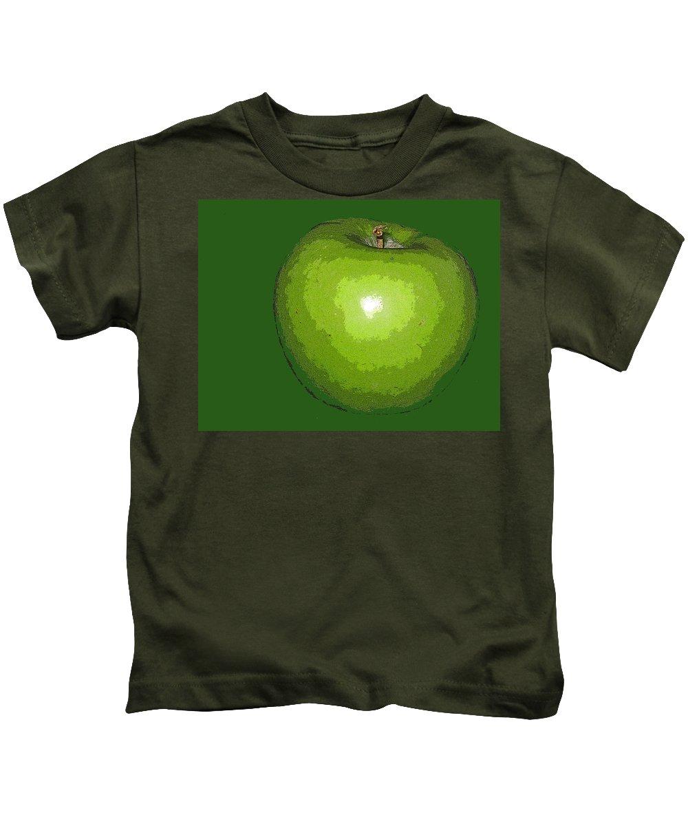 Apple Kids T-Shirt featuring the digital art Granny Smith by Ian MacDonald