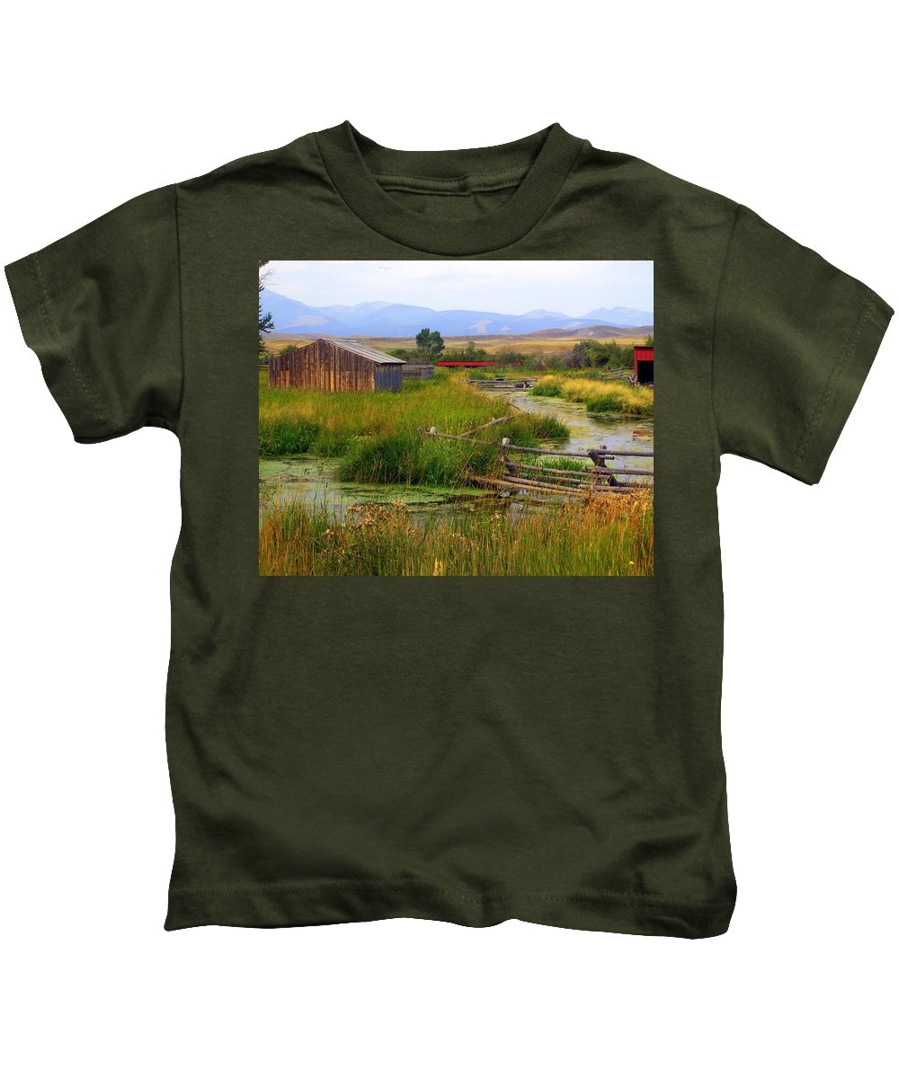 Ranch Kids T-Shirt featuring the photograph Grant Khors Ranch Deer Lodge Mt by Marty Koch