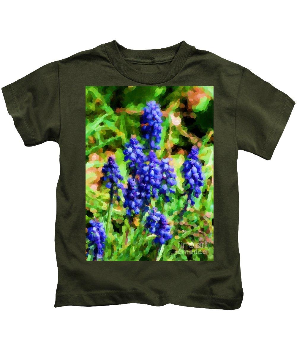 Grape Hyacinths Kids T-Shirt featuring the photograph Grape Hyacinths by David Lane