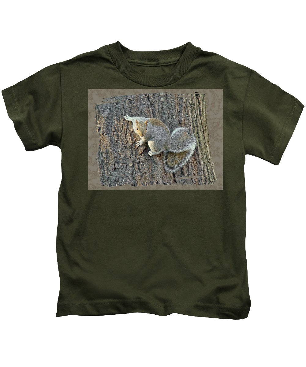 Eastern Kids T-Shirt featuring the photograph Gray Squirrel - Sciurus Carolinensis by Mother Nature