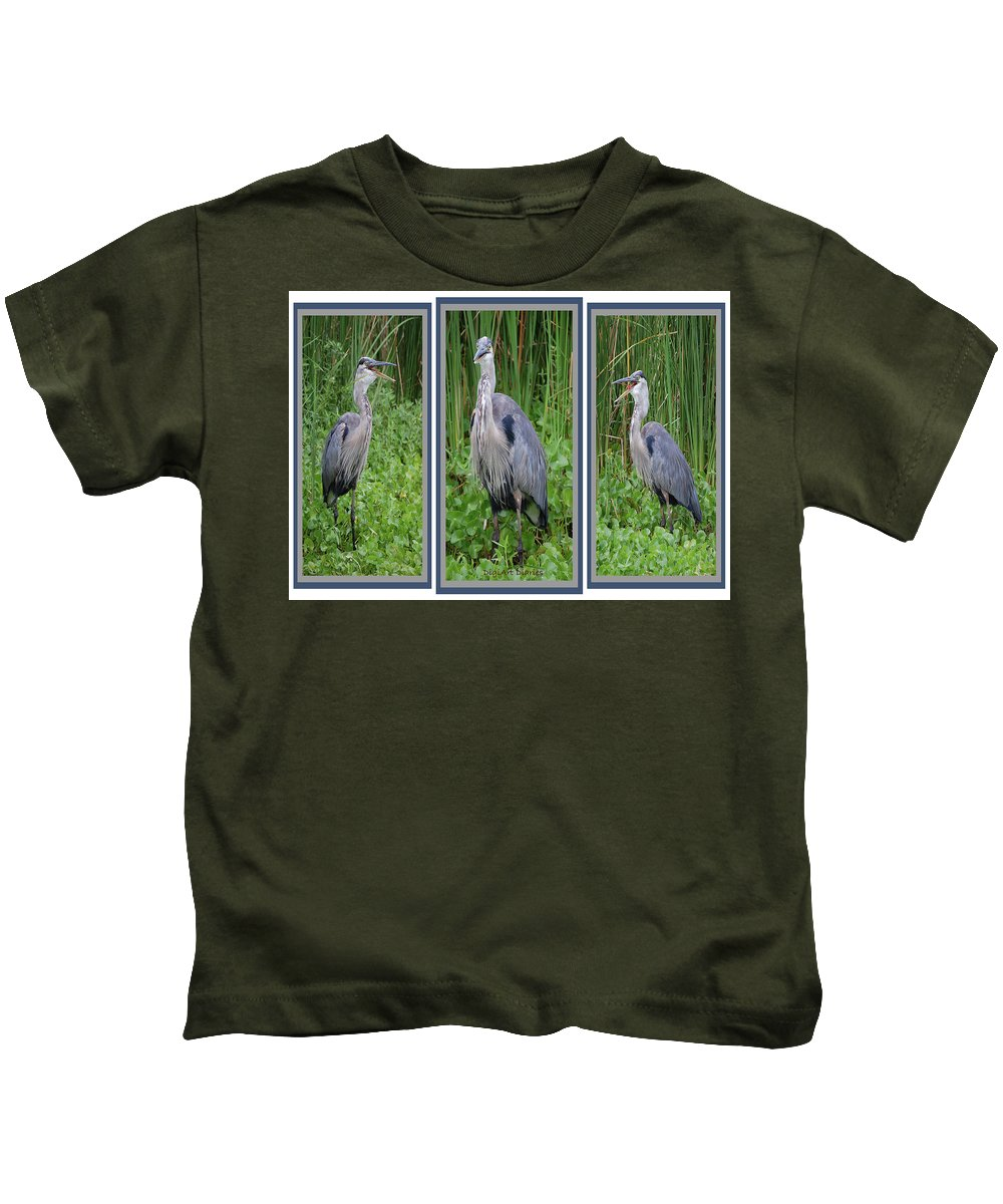 Bird Kids T-Shirt featuring the digital art Great Blue Heron Collage by DigiArt Diaries by Vicky B Fuller