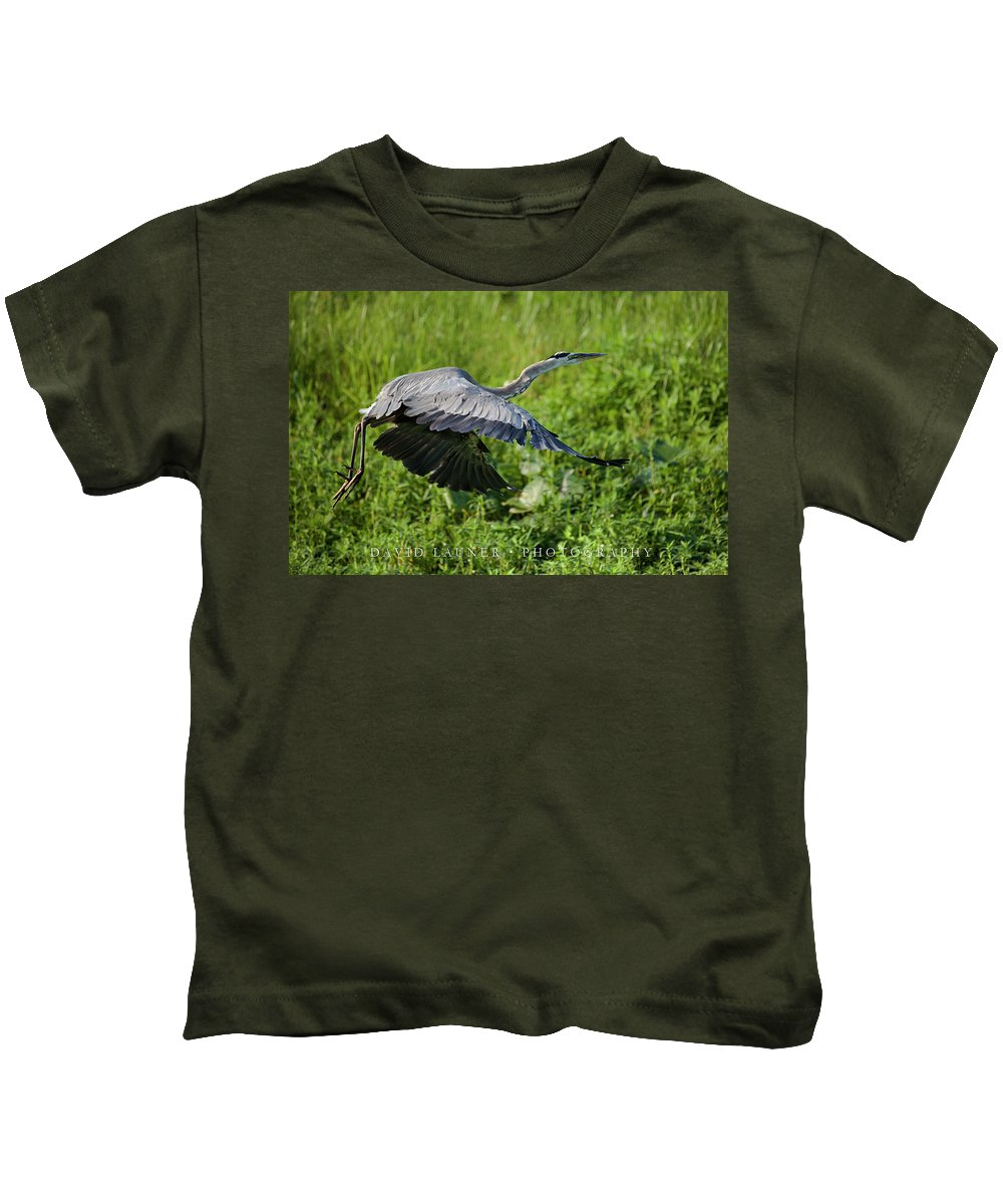 Great Kids T-Shirt featuring the photograph Great Blue Heron by David Launer
