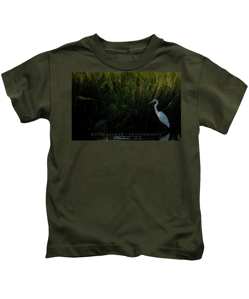 Great Egret Kids T-Shirt featuring the photograph Great Egret At Ft George Inlet by David Launer