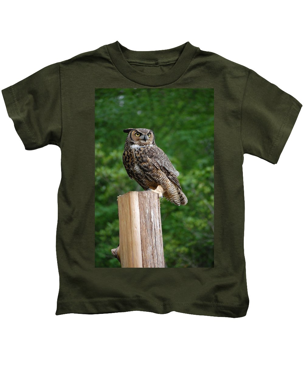 Raptor Kids T-Shirt featuring the photograph Great Horned Owl by Robert Meanor