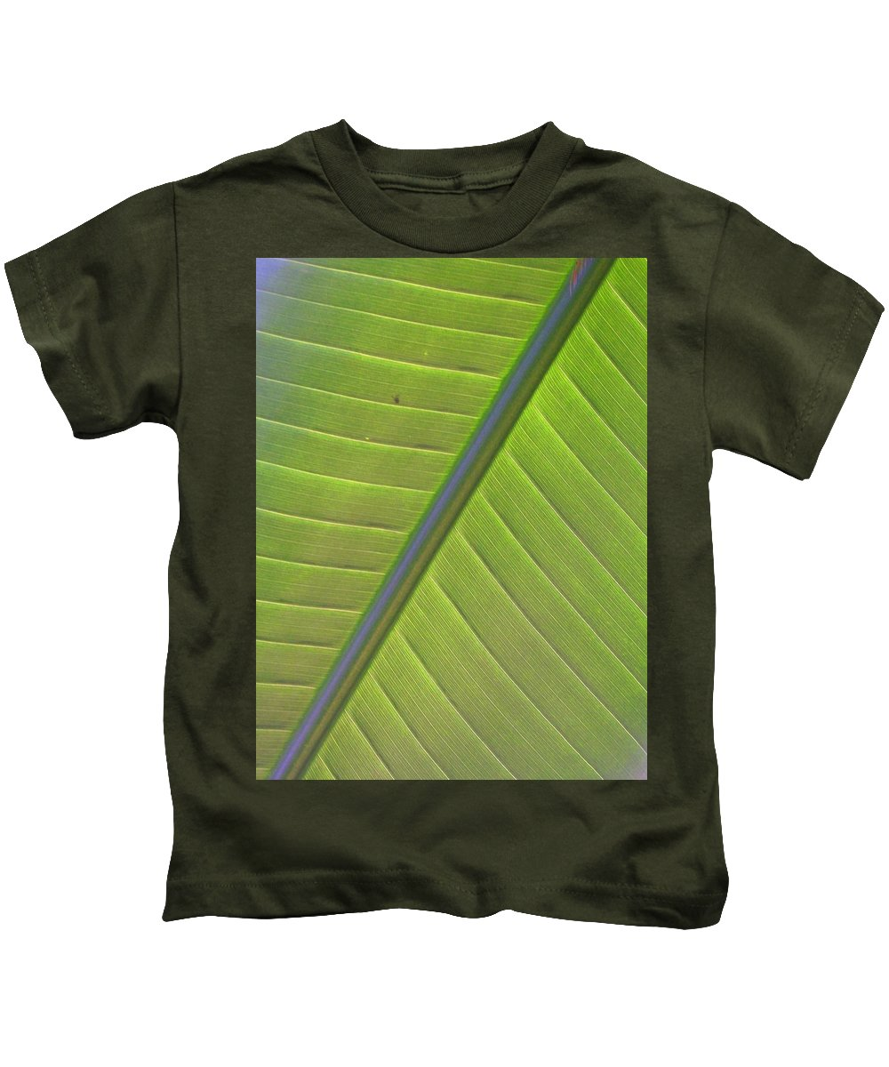 Leaf Kids T-Shirt featuring the photograph Green And Purple Pattern by Laurie Paci