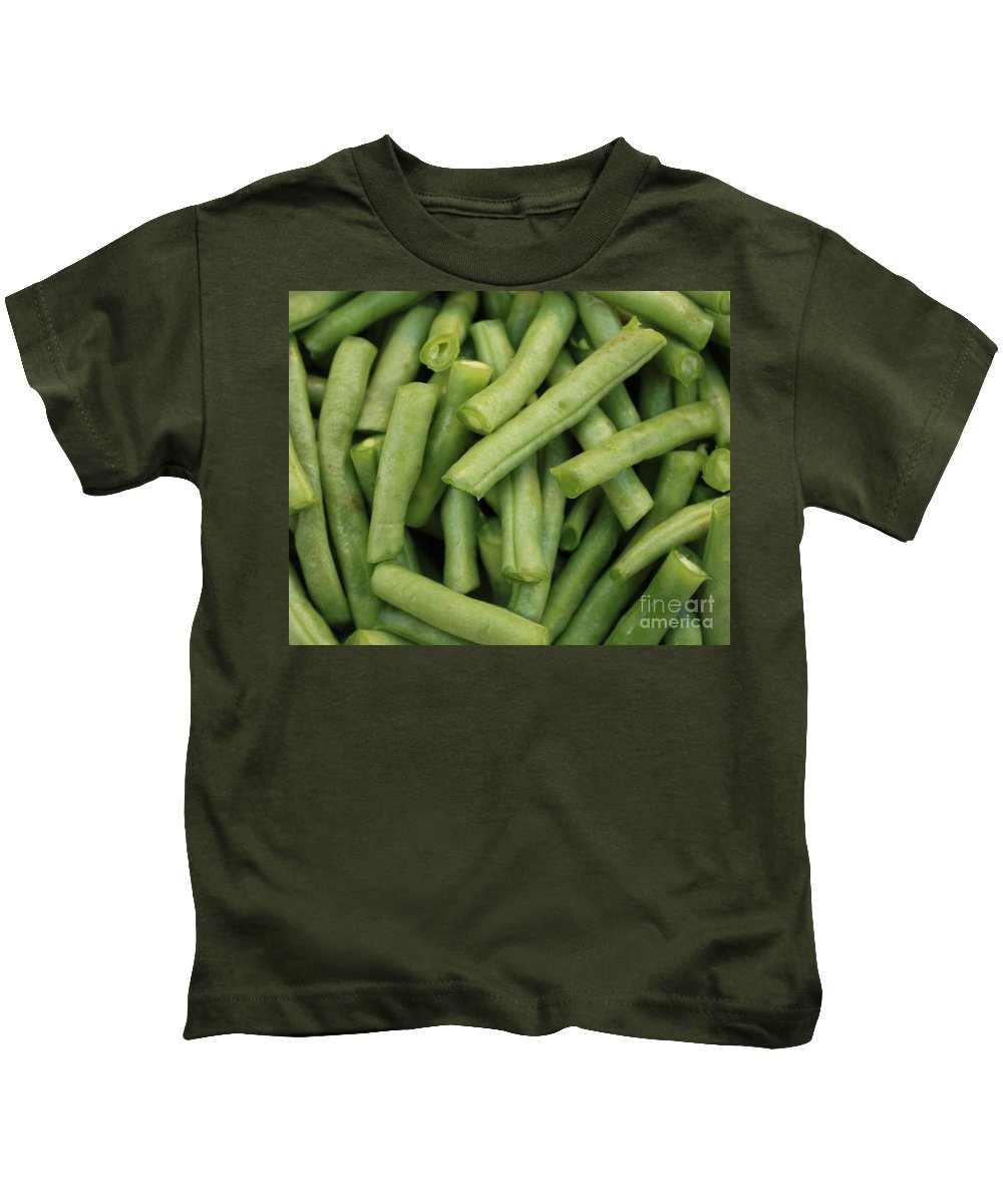 Foods Kids T-Shirt featuring the photograph Green Beans Close-up by Carol Groenen