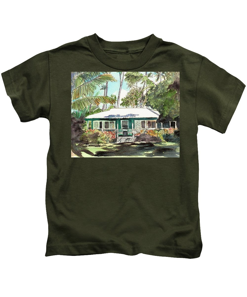 Cottage Kids T-Shirt featuring the painting Green Cottage by Marionette Taboniar