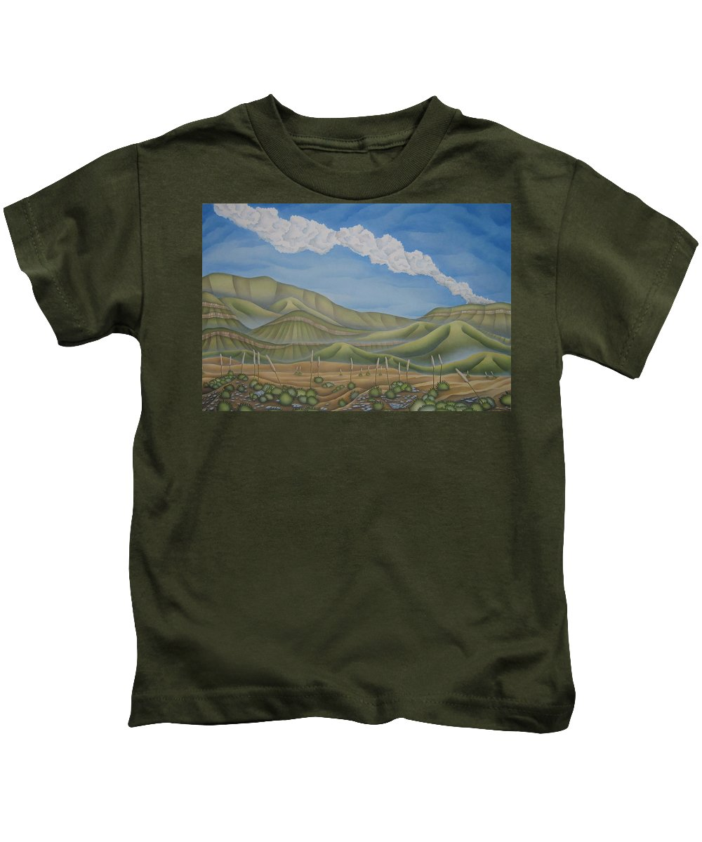 Landscape Kids T-Shirt featuring the painting Green Desert by Jeniffer Stapher-Thomas
