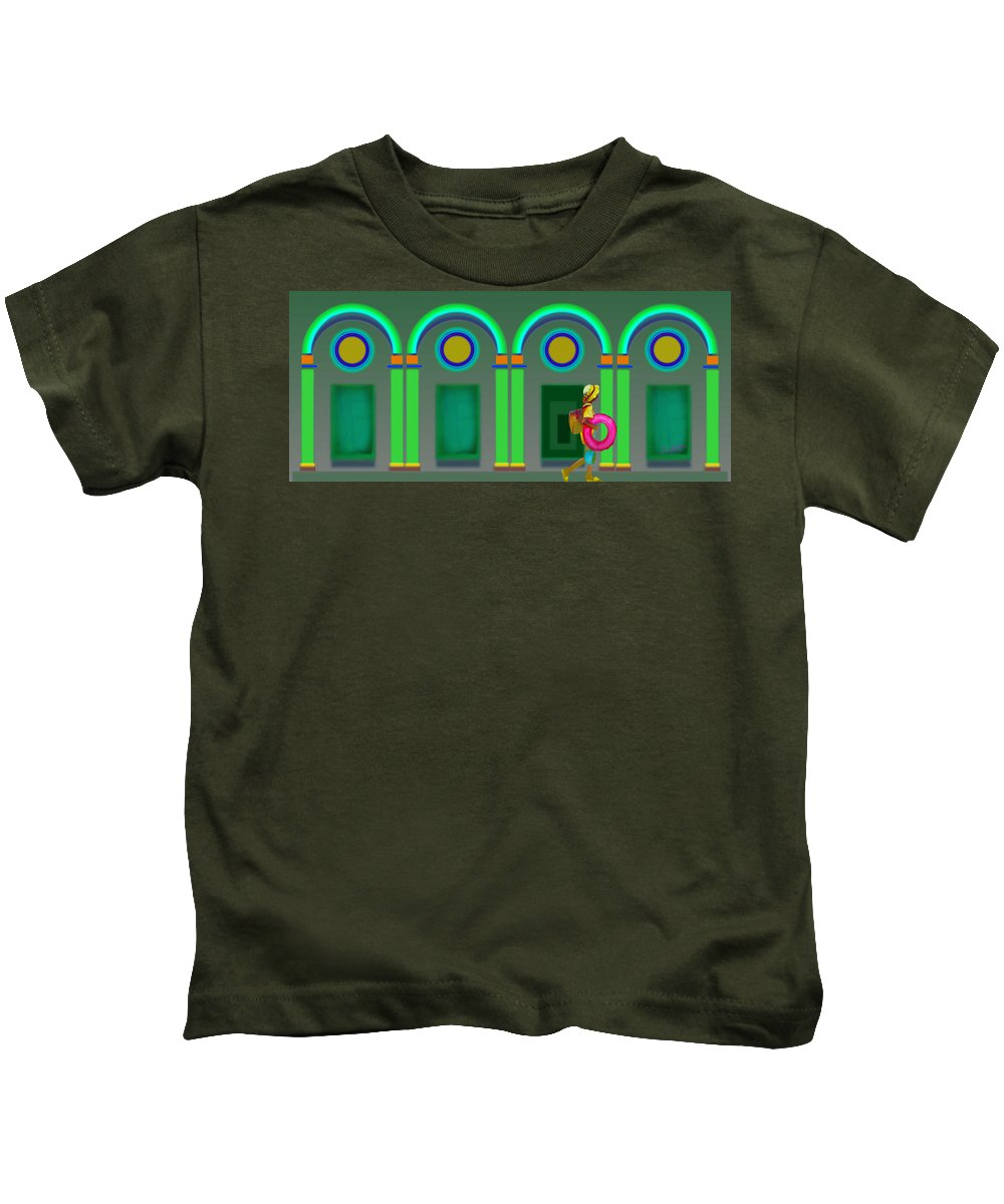 Classical Kids T-Shirt featuring the painting Green Doors by Charles Stuart
