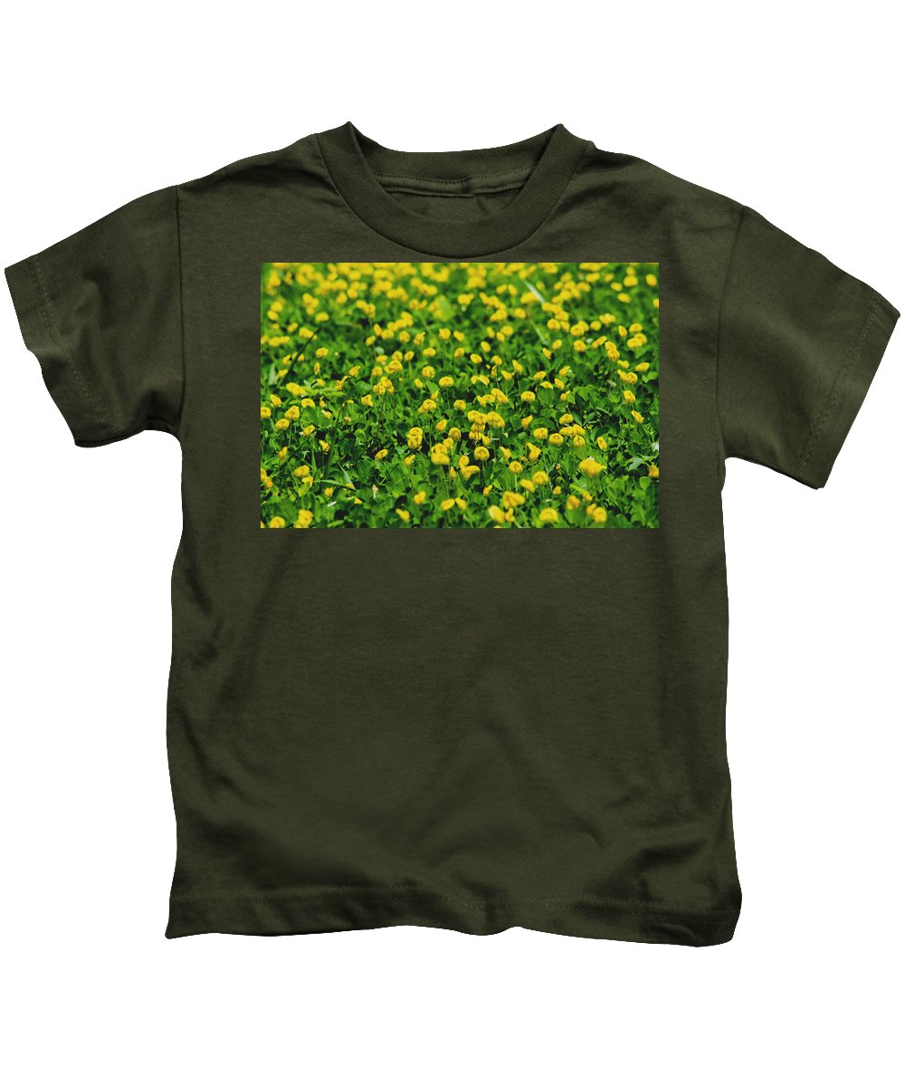 Field Kids T-Shirt featuring the photograph Green Field Of Yellow Flowers 1 by Totto Ponce