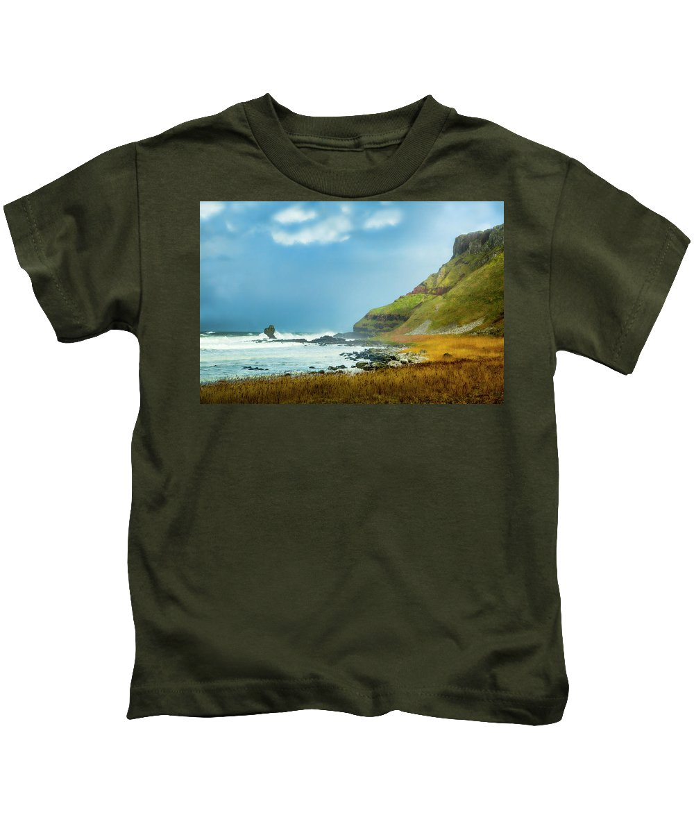 Giant's Causeway Kids T-Shirt featuring the photograph Green Giant by Photopoint Art