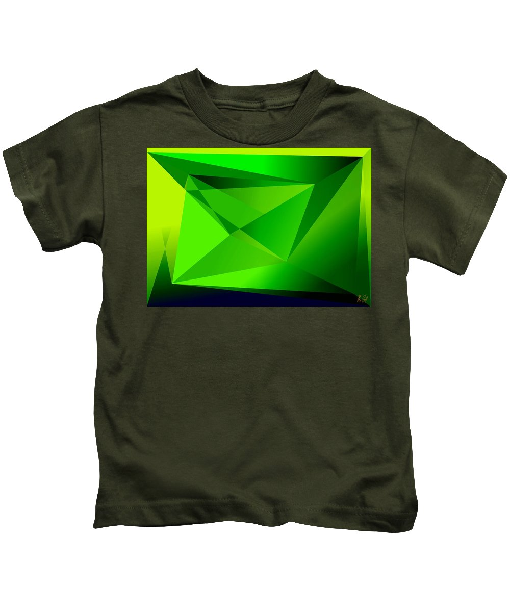 Pyramiden Kids T-Shirt featuring the digital art Green by Helmut Rottler