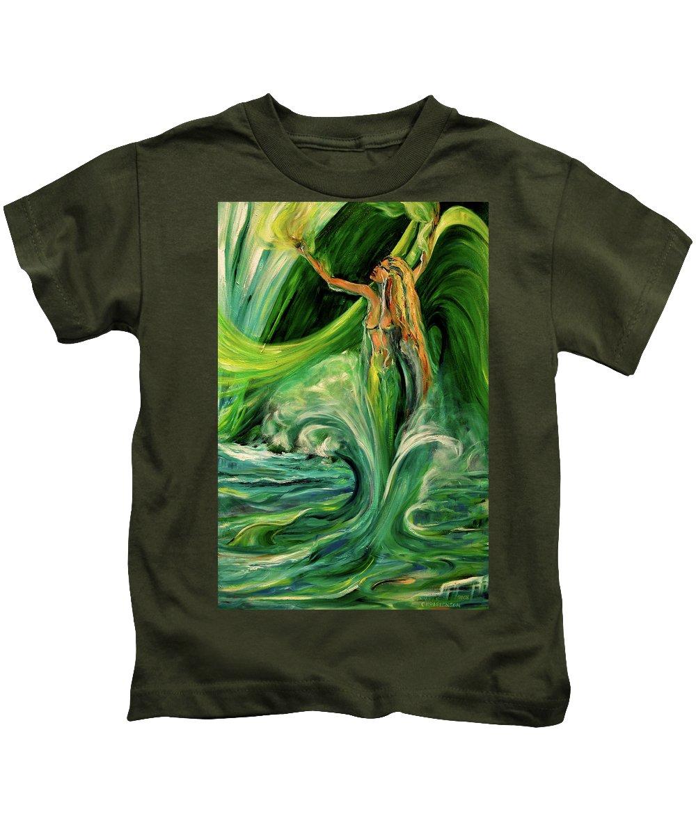 Mermaid Kids T-Shirt featuring the painting Green Jaedunn by Jennifer Christenson
