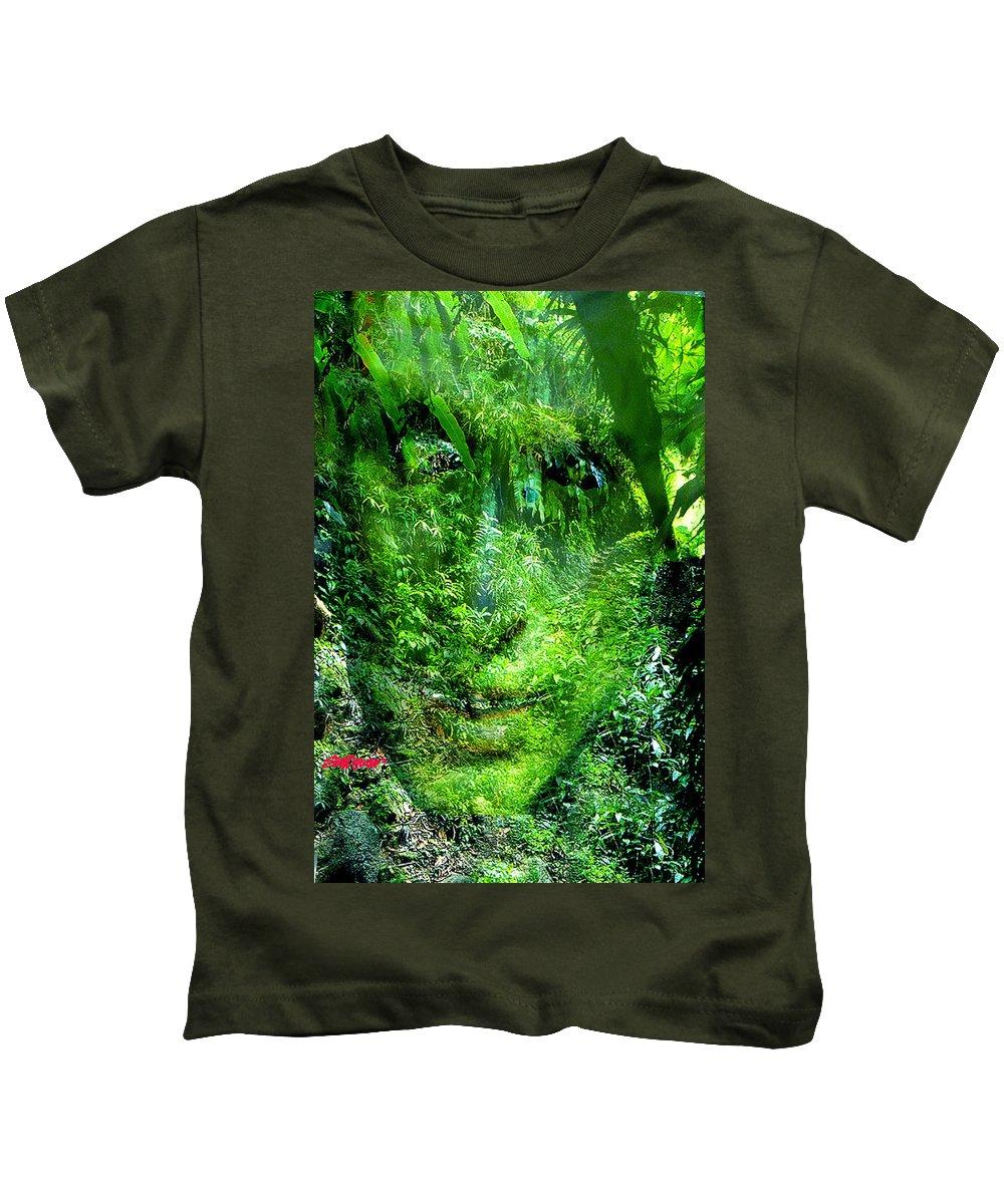 Nature Kids T-Shirt featuring the digital art Green Man by Seth Weaver