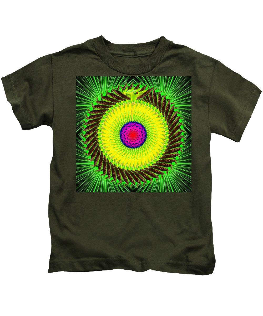 Green Kids T-Shirt featuring the digital art Green Parrot Mandala by The Awakening Art