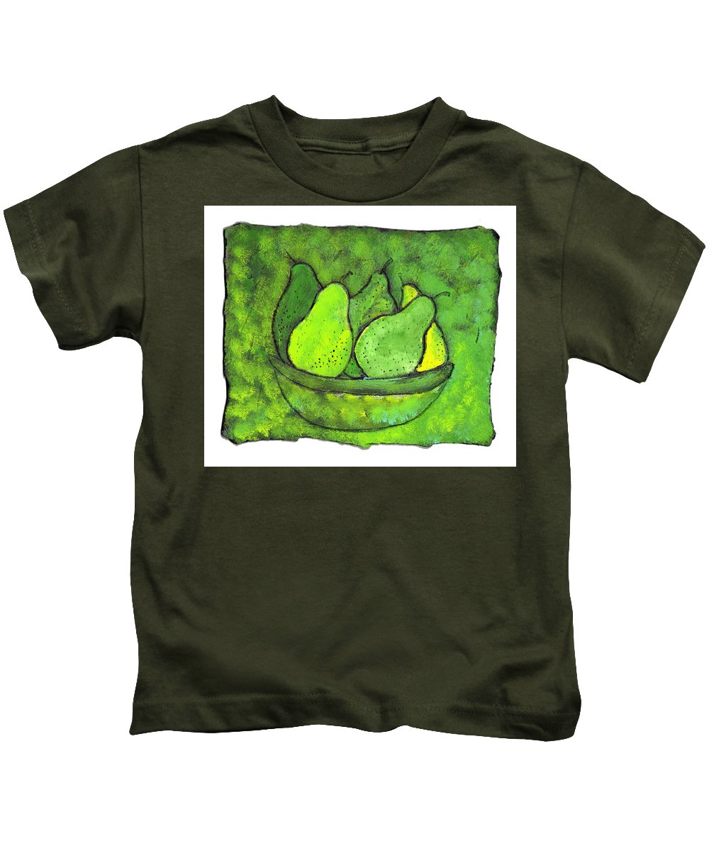 Greem. Pears Kids T-Shirt featuring the painting Green Pears by Wayne Potrafka