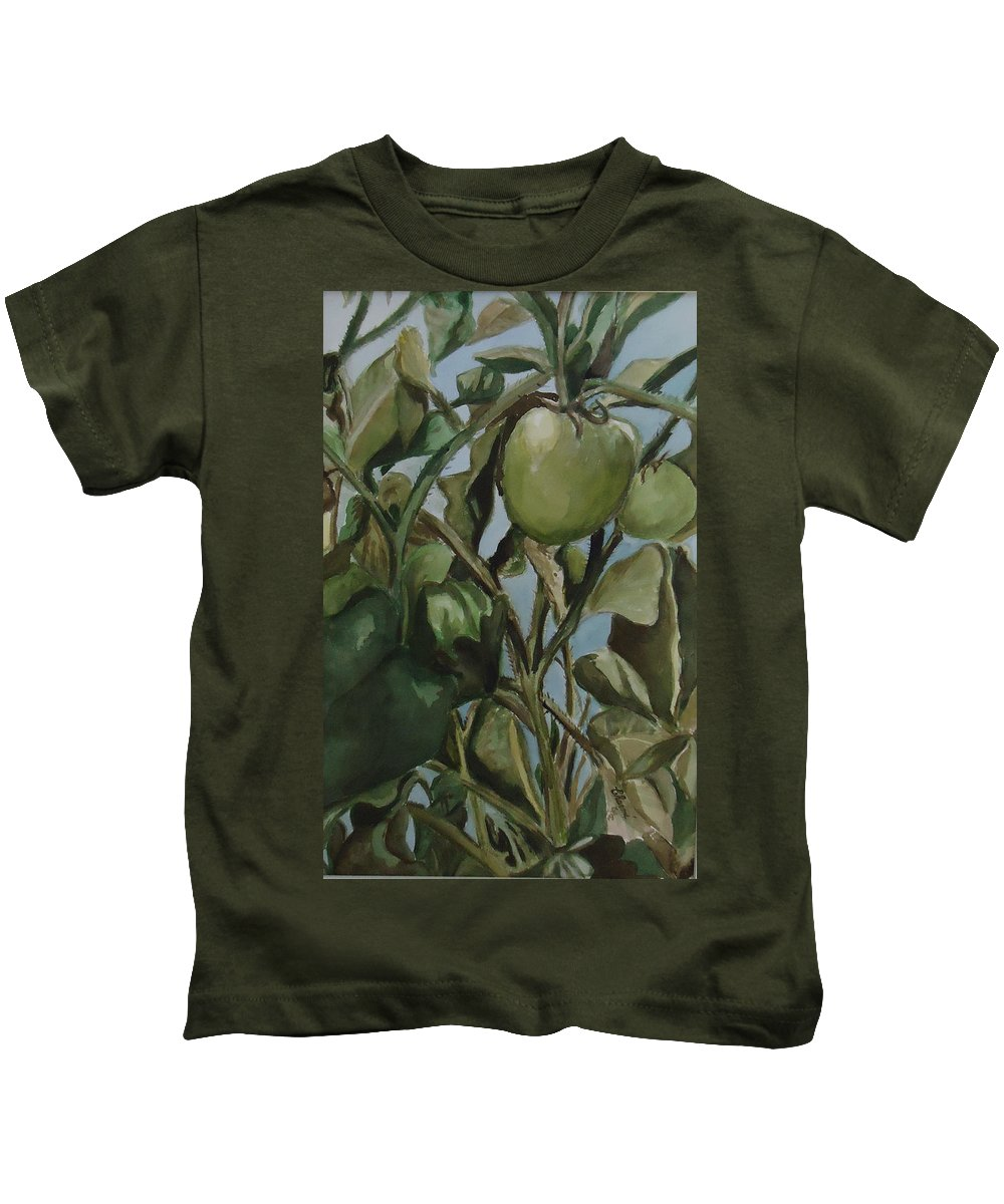 Green Tomatoes On The Vine. Decorative Kids T-Shirt featuring the painting Green Tomatoes On The Vine by Charme Curtin